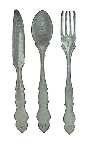 Zeckos Large Galvanized Metal Fork Spoon Knife Farmhouse Decor Kitchen Wall Hanging Set