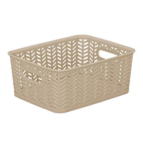 Simplify Small Herringbone Bin in Taupe Storage Basket