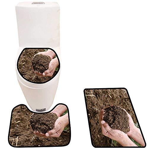 Toilet mat 3 Pieces Microfiber Soft Compost Soil organicfertilizer on for platation Non Slip Bathroom