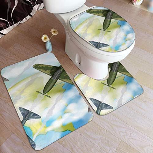 GHWSgGN Cartoon Airplane Earth Bathroom Rug Mats Set 3 Piece Fashion Anti-Skid Pads Bath Mat  Contour  Toilet Lid Cover