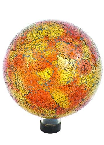 Russco III GD137166 Glass Gazing Ball 10 Orange Mosaic Crackle