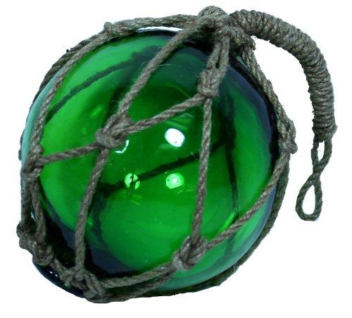 6 Green Glass Nautical Fishing Float with Jute Rope - Garden Globe