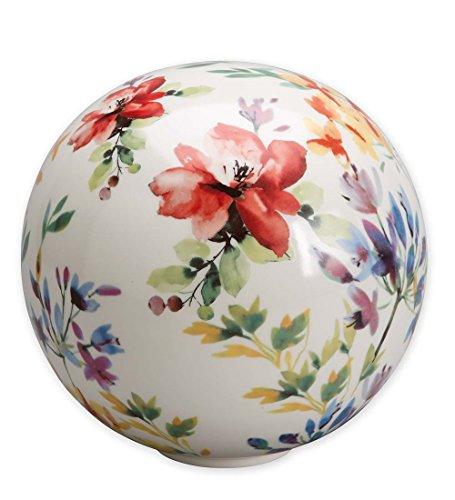 Watercolor Ceramic Garden Globe in Bouquet
