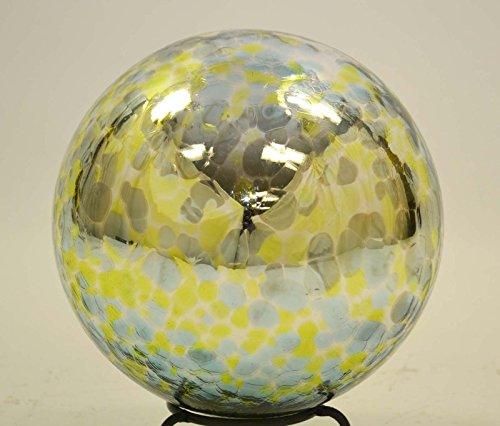 10 Inch Glass Garden Gazing Ball Aqua Lime Spots color