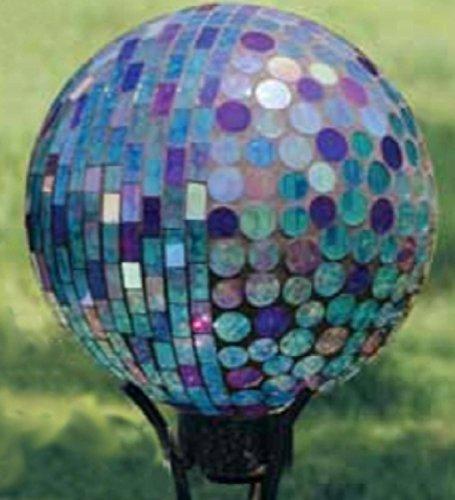 10 Iridescent Aqua and Purple Art Glass Mosaic Outdoor Patio Garden Gazing Ball