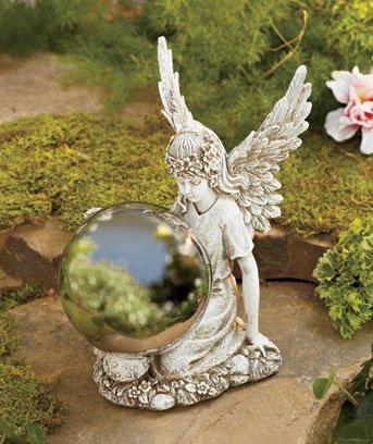 Ceramic Garden Angel Kneeling Holding Metal Gazing Ball 9 X 7 X 4-12