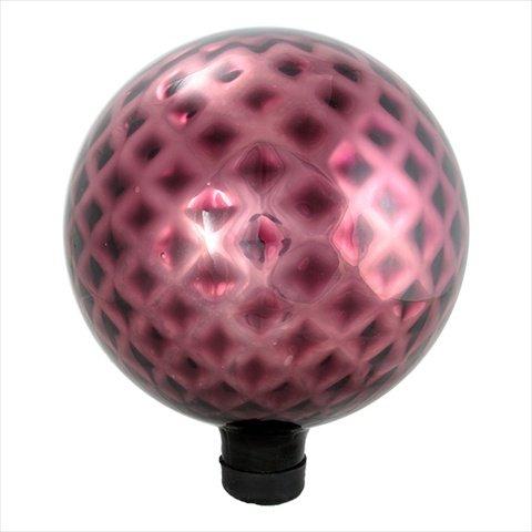 NorthLight 10 in Burgundy Red Diamond Lattice Glass Outdoor Patio Garden Gazing Ball