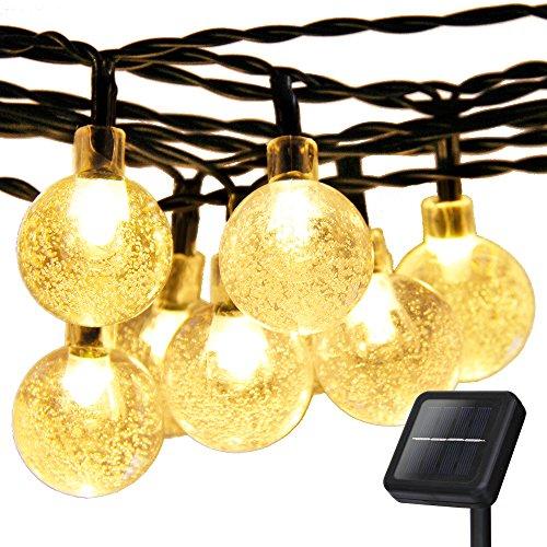 Solar Globe String Lightsaddlon Led Solar Fairy Lights20ft6m 30 Led 8work Modescrystal Ball Ambiance Lighting