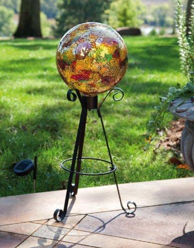 Tall Solar Black Metal Gazing Ball Stand