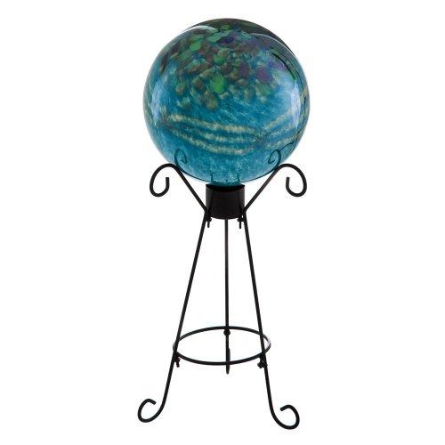Teal Glass Metallic Gazing Ball
