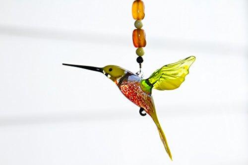 Hummingbird Suncatcher Glass Yard Ornament with Crystal Butterfly Suncatcher - Great Christmas Gift RedAgatePeridot