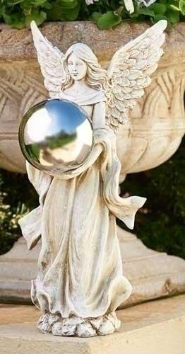 18&quot Serene Angel Holding A Silver Gazing Ball Outdoor Patio Garden Statue