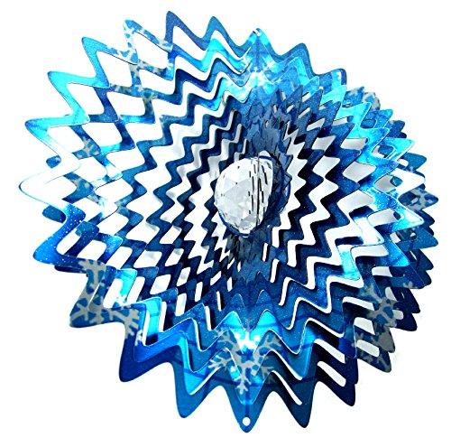 Shipityourway 12&quot 3d Wind Spinner Crystal Gazing Ball Splash Star Snowflake Blue Silver Powder Coated Metal Yard
