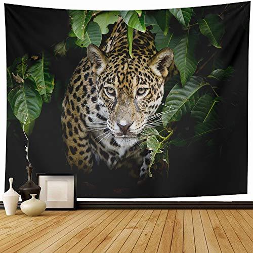 Ahawoso Wall Tapestry 80x60 Inch Panther Black Nose Head Gaze Face Leopard Big Lion Fur Nature Design Trendy Mammal Elegant Color Wall Hanging Tapestries Home Decor Blanket Living Room Bedroom Dorm
