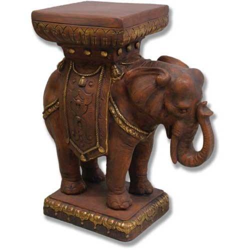 XoticBrands OSHF6862 Elephant Pedestal 23 Garden Animal Statue