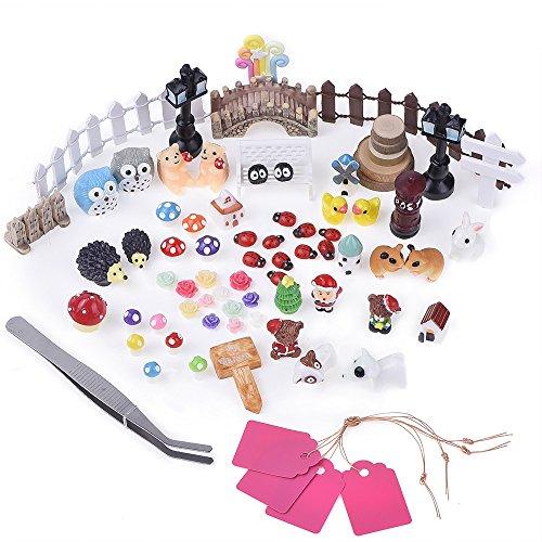 Antner 72 Pieces Miniature Fairy Garden Ornament Kit For Diy Dollhouse Decor With Storage Box