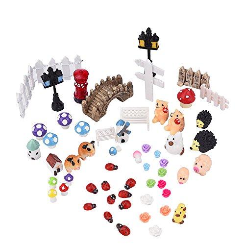 Eboot 56 Pieces Miniature Ornament For Diy Fairy Garden Dollhouse Decor