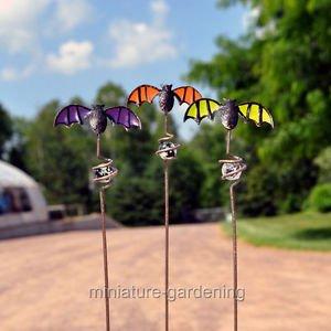 Miniature Fairy Garden Bat Picks 3 Piece Set