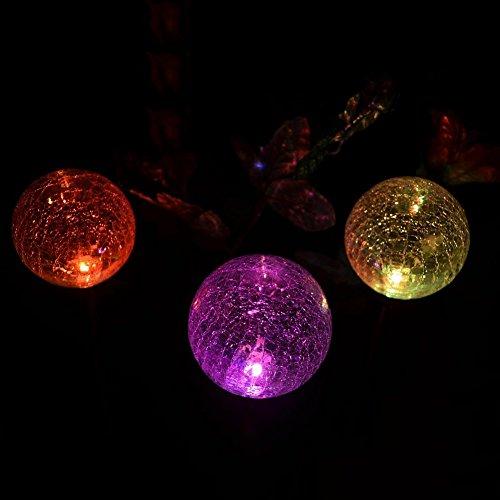 Dream Solar Power Lights-3pack Colorful Crackle Glass Globe Solar Light For Lawn Garden Home Garden Landscape
