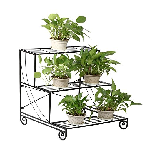 World Pride Garden Outdoor Metal Plant Stand  Multi Planter Flower Pot Racks  Planter Shelves Holder Black--3 Tier