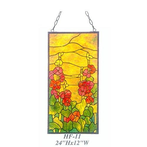 HDO Glass Panels HF-11 Rural Vintage Tiffany Style Stained Church Art Glass Decorative Morning Glory Rectangle Window Hanging Glass Panel Suncatcher 24 Hx12 W