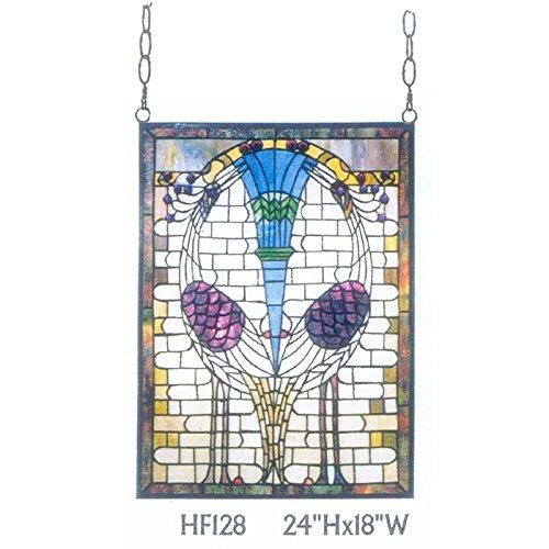 HDO Glass Panels HF-128 Rural Vintage Tiffany Style Stained Church Art Glass Decorative Rectangle Window Hanging Glass Panel Suncatcher 24 Hx18 W