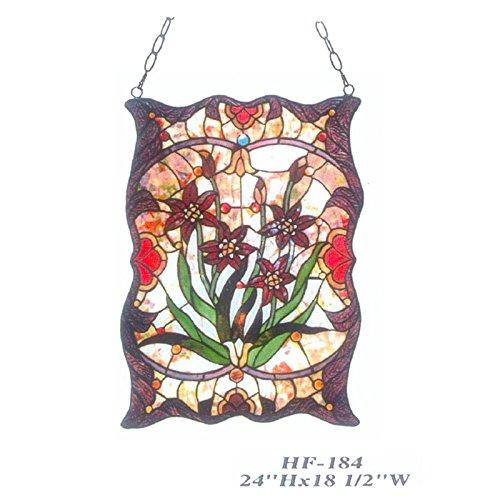 HDO Glass Panels HF-184 Tiffany Style Stained Glass Red Lilium Decorative Window Hanging Glass Panel Suncatcher 24x185