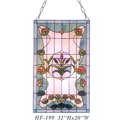 HDO Glass Panels HF-199 Pastoral Tiffany Style Stained Glass Simple Floral Decorative Window Hanging Glass Panel Suncatcher 32 Hx20 W