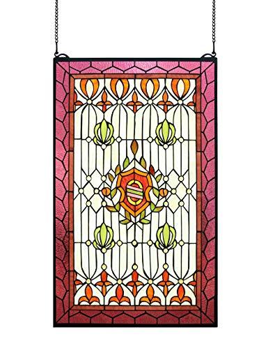 HDO Glass Panels HF-204 Rural Vintage Tiffany Style Stained Church Art Glass Decorative Rectangle Window Hanging Glass Panel Suncatcher 32 Hx20 W