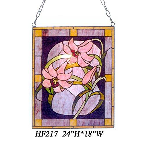 HDO Glass Panels HF-217 Tiffany Style Stained Church Art Glass Pink Lily Rectangle Window Hanging Glass Panel Suncatcher 24 Hx18 W