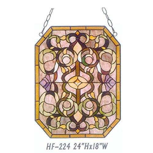 HDO Glass Panels HF-224 Tiffany Style Stained Church Art Glass Simple Window Hanging Glass Panel Suncatcher 24 Hx18 W