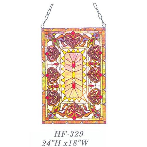 HDO Glass Panels HF-329 Rural Vintage Tiffany Style Handmade Stained Glass Window Hanging Glass Panel Suncatcher 24x18