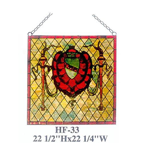 HDO Glass Panels HF-33 Rural Vintage Tiffany Style Handmade Stained Glass Window Hanging Glass Panel Suncatcher 225x2225