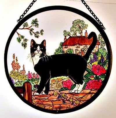 Decorative Hand Painted Stained Glass Window Sun Catcherroundel In A Cottage Garden Cat Design