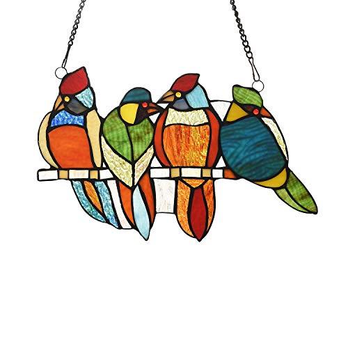 65-Piece Stained Glass Birds Window Suncatcher Multi Color Casual Irregular Animals Metal Includes Hardware