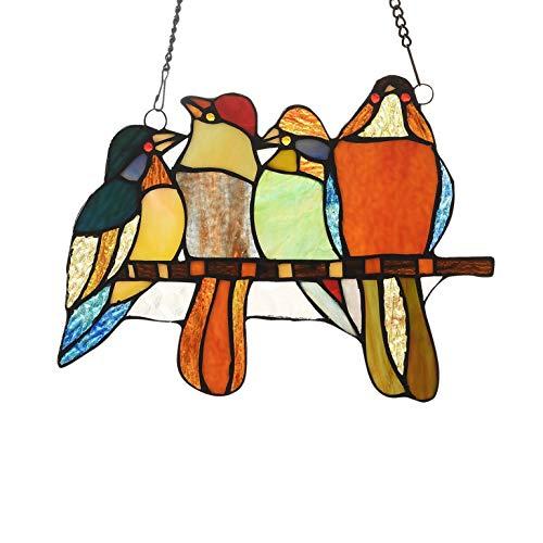 66-Piece Stained Glass Birds Window Suncatcher Multi Color Casual Irregular Animals Metal Includes Hardware