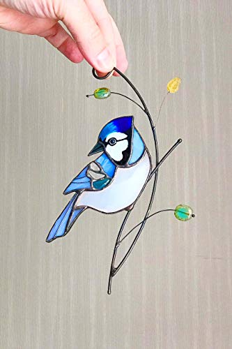 Blue Jay Suncather Stained Glass Bird Lover Friend mom Father Partner Housewarming Custom Gift Window hangings