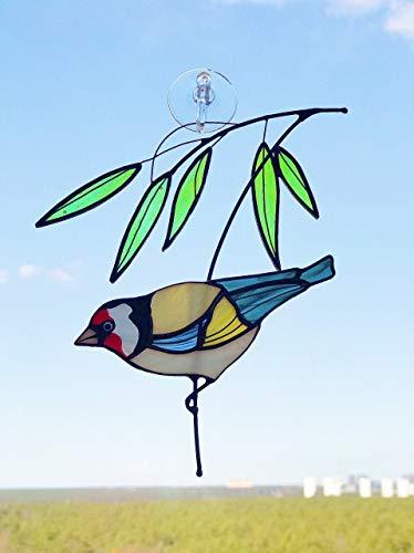 Goldfinch Bird Suncather Stained Glass Bird Lover Friend mom Father Partner Housewarming Custom Gift Window hangings