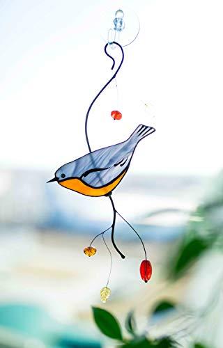 Nuthatch Bird Suncather Stained Glass Bird Lover Friend mom Father Partner Housewarming Custom Gift Window hangings