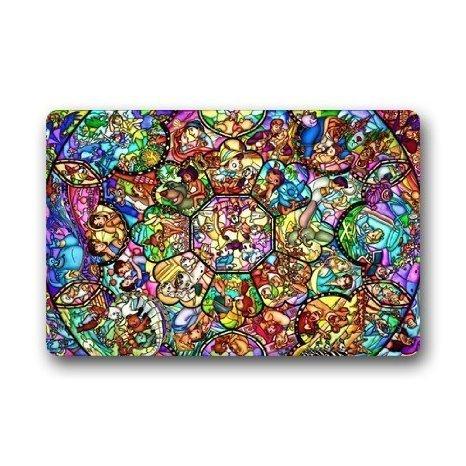 Shiningly Aladdin Story Stained Glass Pattern Custom Rectangle Entryways Non Slip Indooroutdoor Doormat Floor