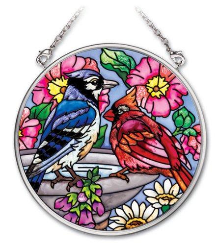Amia 41758 Hand-Painted Glass 3-12-Inch Circle Suncatcher Small Songbird Design