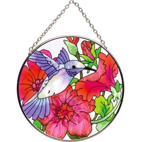 Joan Baker Designs  Mc292 Hummingbird And Petunia Art Glass Suncatcher 4-12-inch Diameter