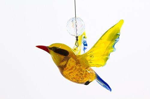 Miniature Glass Yellow Songbird Figurine with Suncatcher Bead