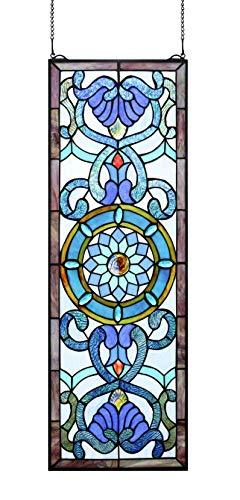 Yogoart Tiffany Style Stained Glass Blue Window Panels Deco Art Window Hanging 12 X 35