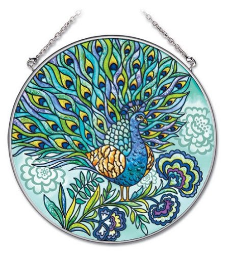Amia 6-12-inch Circle Hand-painted Glass Suncatcher Peacock Large