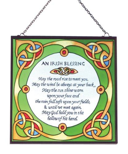 Irish Suncatcher - Irish blessing stained glass window hanging Irish Gift designed in Galway Ireland