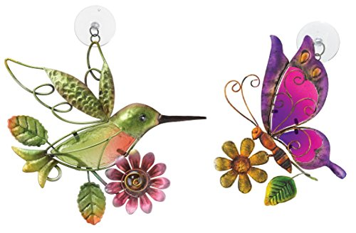 Regal Art & Gift Suncatchers, Hummingbird & Purple Butterfly Glass Sun Catcher For Home, Garden, Window And Wall