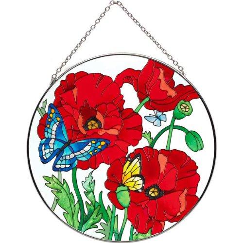 Joan Baker Designs Lc095 Poppy Garden Art Glass Suncatcher 6-12-inch Diameter