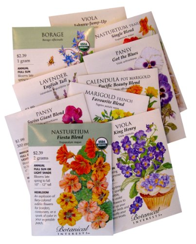 &quotcooks And Gardeners&quot Edible Flowers To Grow And Eat 10 Seed Packets By Botanical Interests In Gift Box