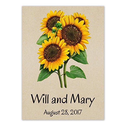 Set Of 25 Personalized Seed Packetsquotdwarf Sunspot Sunflowers&quot sn005 Open Pollinated Seeds By Seed Needs